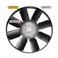 Вентилятор КАМАЗ-ЕВРО 600мм с вязкостной муфтой и обечайкой в сборе (дв.CUMMINS до 2009г.) BORG WARN